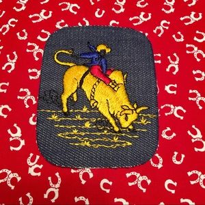 Super cute COWBOY Riding a BULL iron on patch!